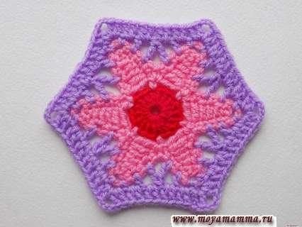шестиугольный цветок крючком