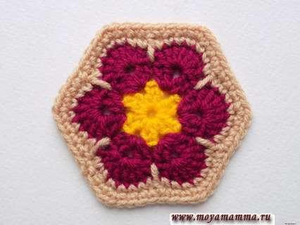 Афганский цветок крючком