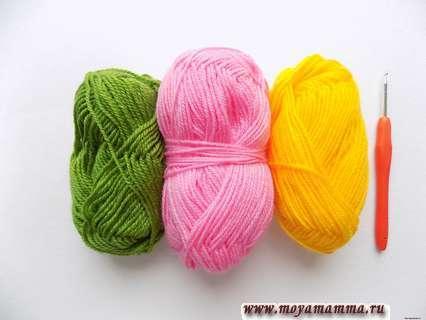 пряжа зеленого, розового и желтого цвета