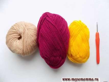 пряжа бордового, бежевого и желтого цвета