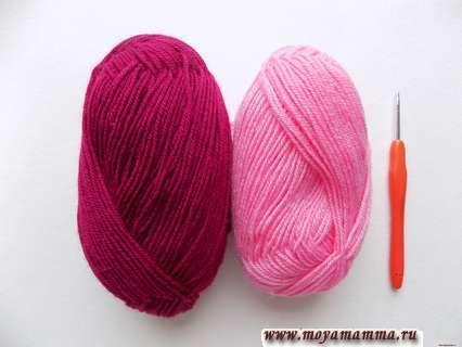 пряжа бордового и розового цвета