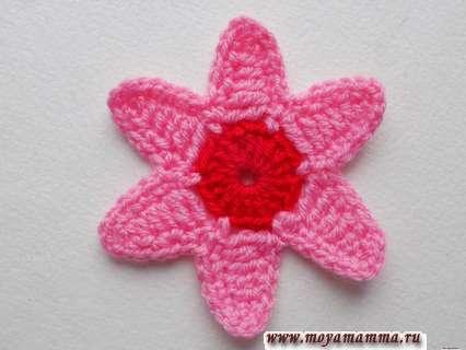 Шестиугольный цветок крючком. Элемент с шестью розовыми лепестками