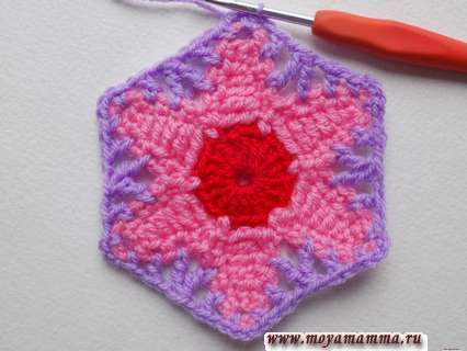 Шестиугольный цветок крючком. Шестиугольный мотив