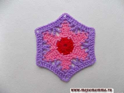 Как связать шестиугольный цветок крючком