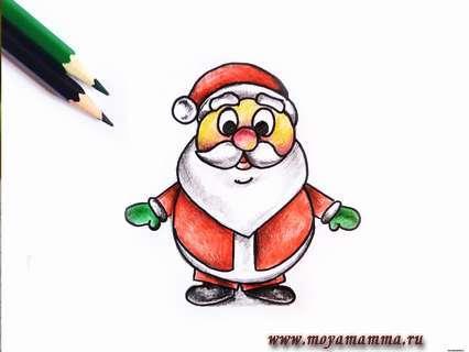 Небольшими штрихами создаем тень на всех участках новогоднего рисунка