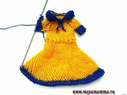 Закрываем ряд и сшиваем первый рукав для платья