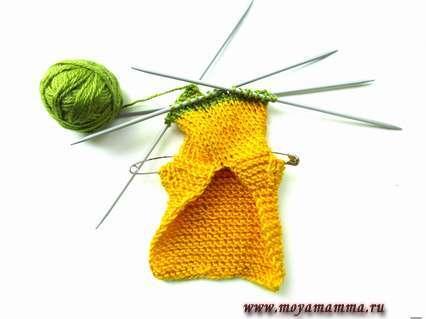 переход вязания на зеленый цвет