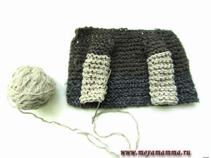 Закрываем петли и сшиваем оба рукава иголкой с ниткой.