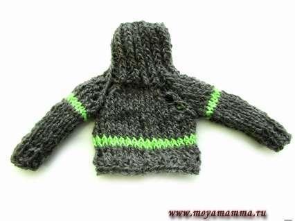 зимний шерстяной свитер для Кена, связанный чулочными спицами