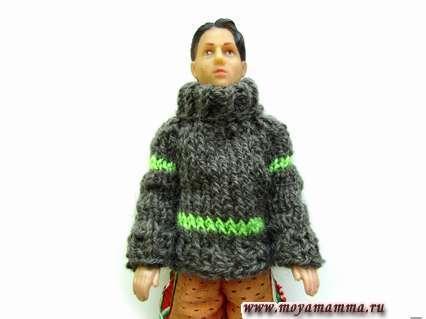Как спицами связать зимний свитер для Кена