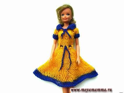 вяжем платье для барби