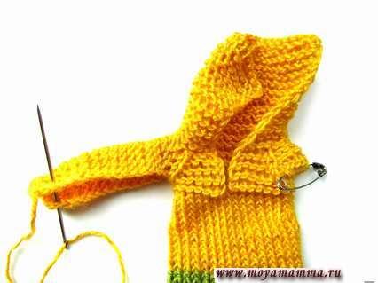 вязание рукава платочной вязкой