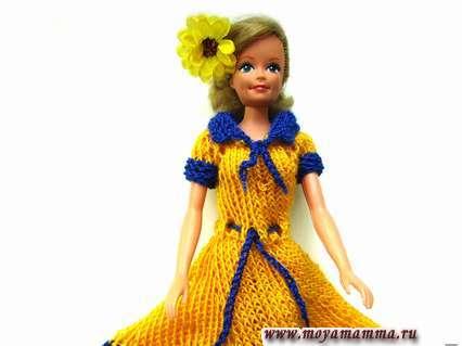 вяжем платье для барби с короткими рукавами