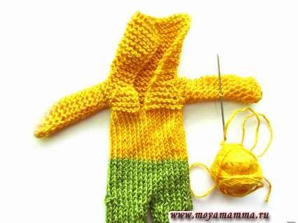 сшивание рукава комбинезона