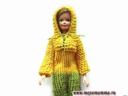комбинезон с капюшоном для куклы спицами