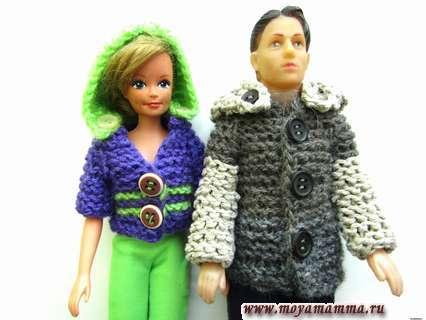 Как спицами связать пальто для Кена