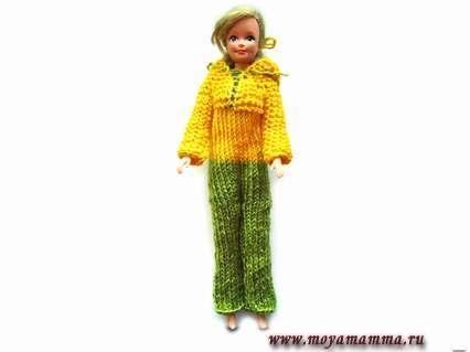 Как связать комбинезон с капюшоном для куклы