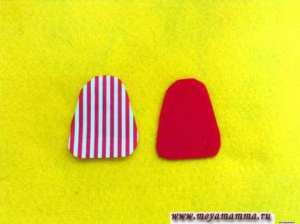 2 детали одинаковых размеров из текстиля и фетра