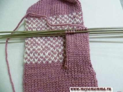 вязание правого большого пальца на рукавичке
