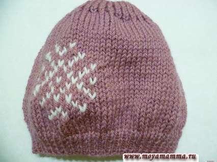 шапка снежинка спицами
