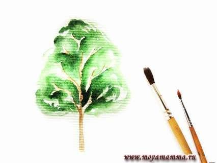 рисование листвы дерева акварелью