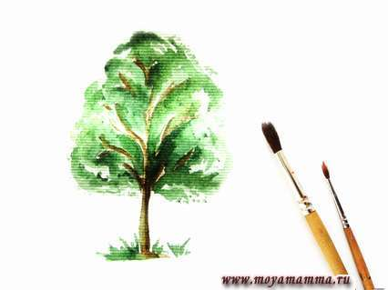 Добавим листву вокруг основания дерева