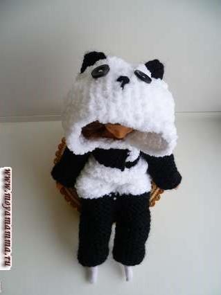 кигуруми Панда для куклы барби своими руками