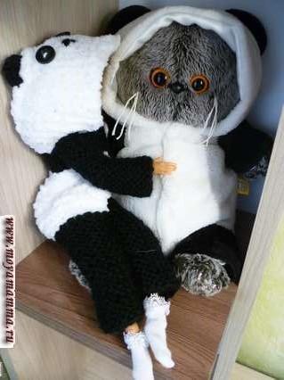кигуруми панда для куклы на спицах