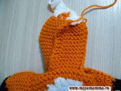 завершение вязания боковой части капюшона