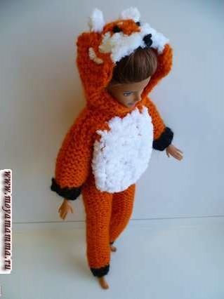 кигуруми для куклы лиса