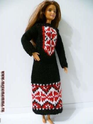 cf6e5787024 Вязаное платье для куклы с орнаментом своими руками