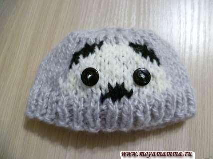 Связать шапку для басика. Глазки панды