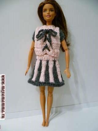 Юбка и кофточка для куклы на спицах