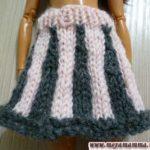 Вязаная юбка для куклы