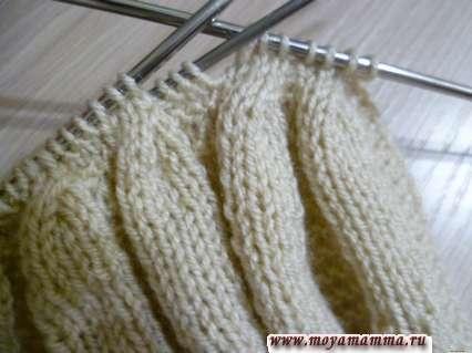 продолжение сужения вязаного полотна