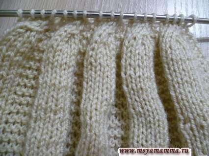 второй этап сужения полотна вязаного бального платья