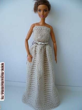 вязаное бальное платье для барби