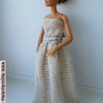 вязаное бальное платье для барби на спицах