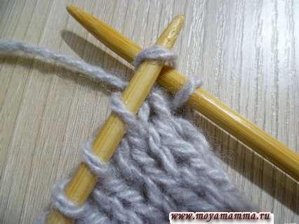Вязание лицевой петли за переднюю стенку