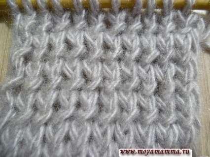 вязание скрещенными лицевыми петлями и скрещенными изнаночными петлями за переднюю стенку
