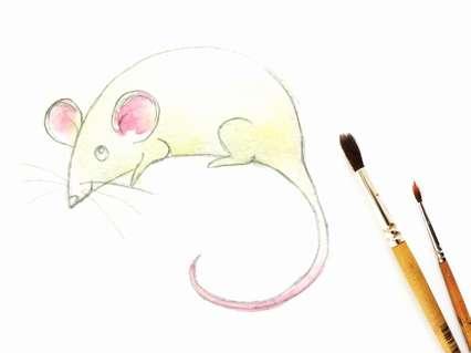 желто-коричневая акварель на туловище мышки