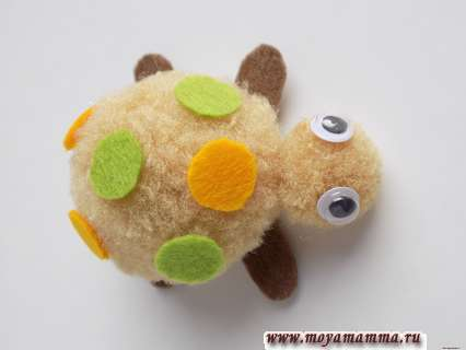поделка черепашка - пластмассовые глазки