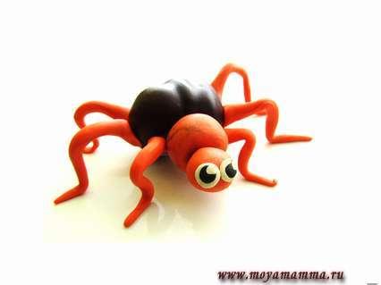 паук из пластилина для детей