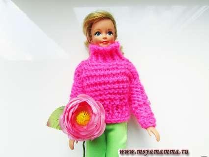 простой свитер для куклы спицами