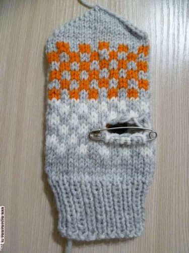 вязание варежки лисички