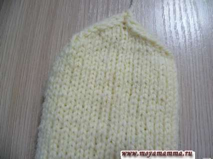 описание вязания варежек спицами, верх варежки