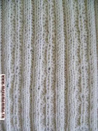 Узор косы с резинкой 2х2 для шарфа с изнаночной стороны