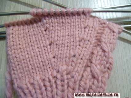 вязание перчаток спицами - клин