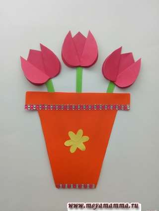 открытка маме с цветами своими руками
