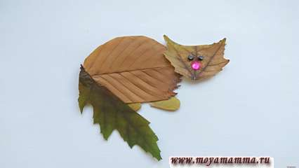 Аппликация из листьев Котик